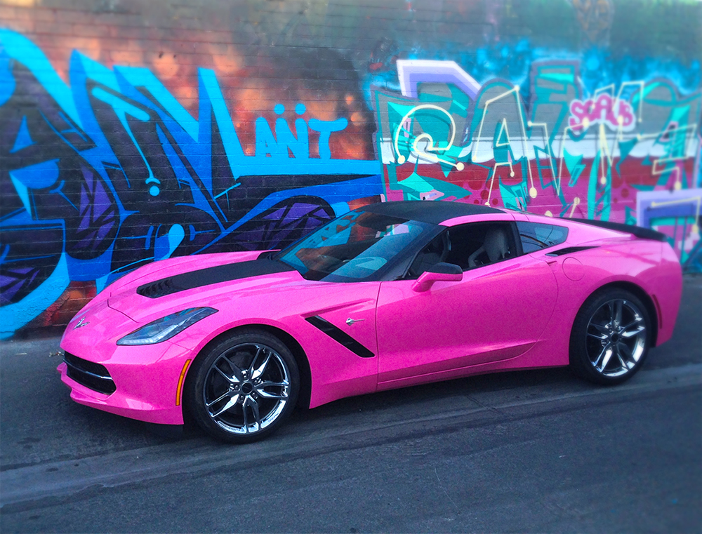 Las vegas great pink corvette car wrap great pink corvette wrap sciox Images