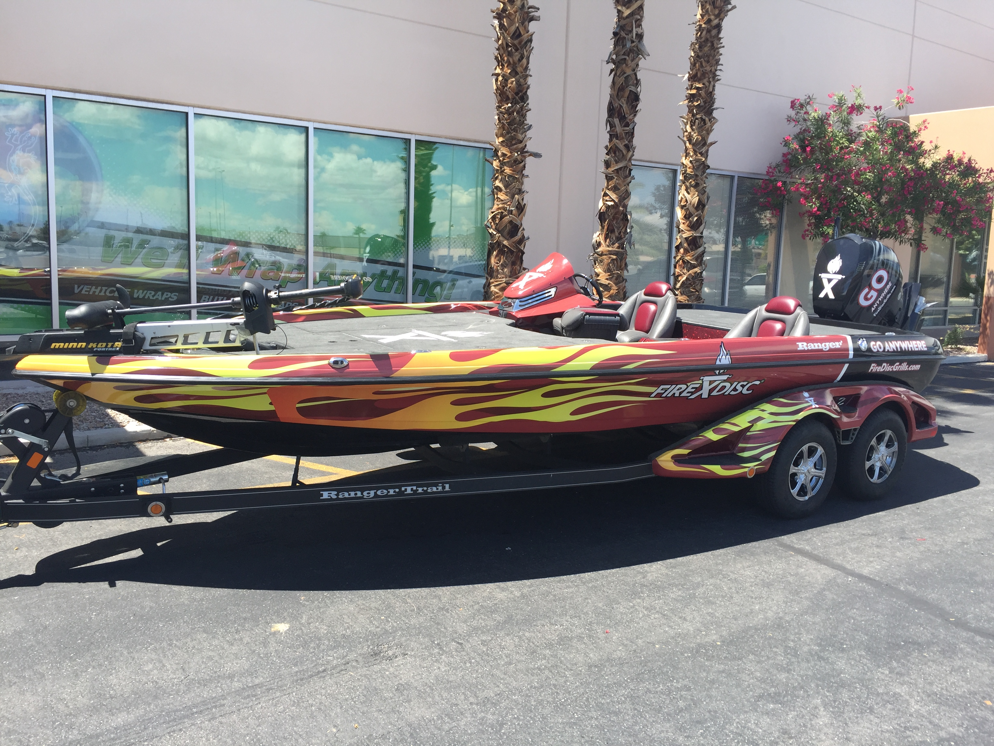 fire disk bass boat wrap