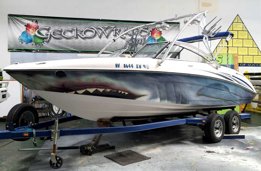 Great White Shark Boat Wrap Geckowraps Las Vegas